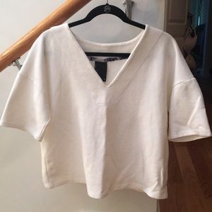 Anthropologie Thick Ribbed V Neck Blouse by Dolan